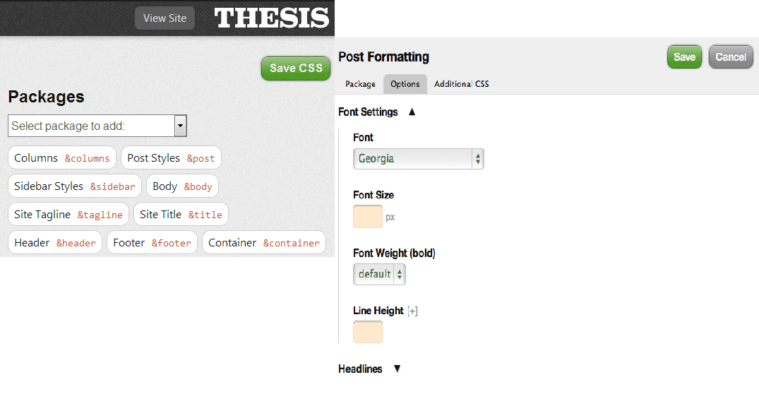 Editing CSS in thesis 2.0